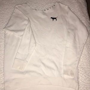 VS Pink white oversized crew neck sweatshirt